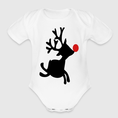 Black rudolph the red nosed reindeer right Women s - Short Sleeve Baby Bodysuit