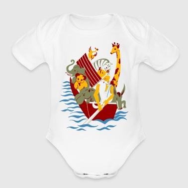 Noahs Ark Paddle Boat Bible Religion Animals Gift - Short Sleeve Baby Bodysuit