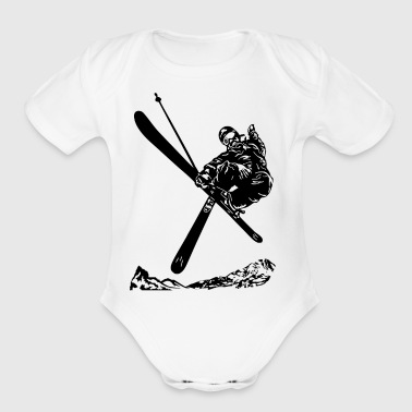 Skiers on the ski slopes in a sporty and fast way - Short Sleeve Baby Bodysuit