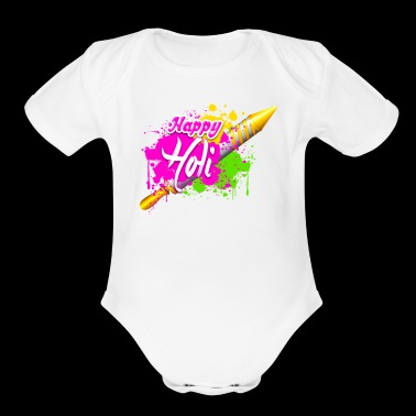 Colorful Pichkari HAPPY HOLI Tshirt - Organic Short Sleeve Baby Bodysuit