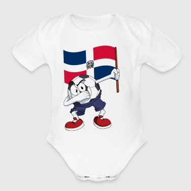 Dominican Republic Dabbing Soccer Ball - Short Sleeve Baby Bodysuit