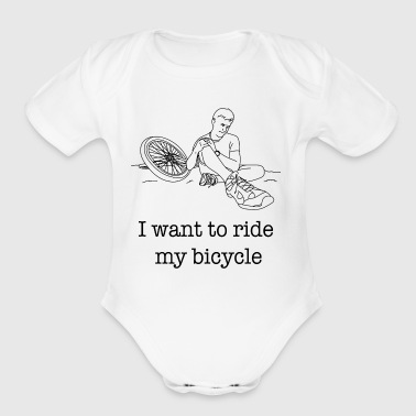 I want to ride my Bicycle / Gift Idea - Short Sleeve Baby Bodysuit