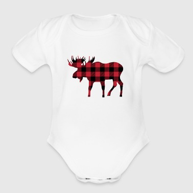 Moose Silhouette in Red and Black Buffalo Plaid - Organic Short Sleeve Baby Bodysuit
