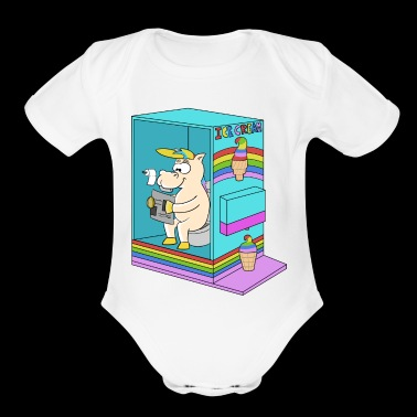 Ice cream Unicorn Summer - Organic Short Sleeve Baby Bodysuit