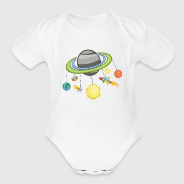 Space Mobile Planets / Gift Idea - Organic Short Sleeve Baby Bodysuit