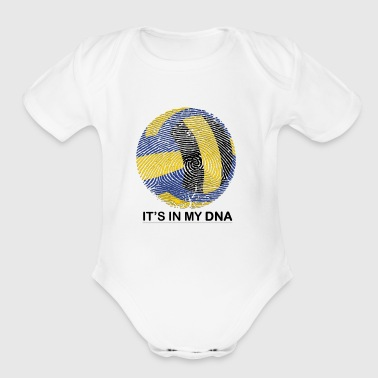 Volleyball in my DNA gift fingerprint - Organic Short Sleeve Baby Bodysuit