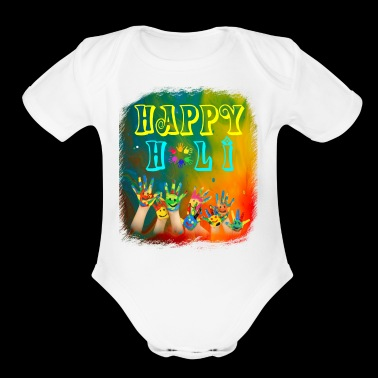 Joyful Celebrations Happy Holi Tshirt - Organic Short Sleeve Baby Bodysuit