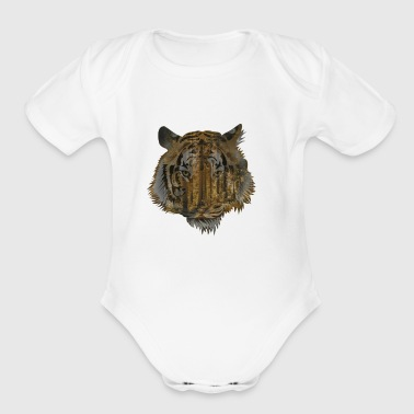 Tiger In the Forest - Short Sleeve Baby Bodysuit
