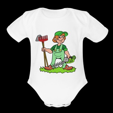 Garden Gardener Gardening Hedge Clippers Rake - Short Sleeve Baby Bodysuit