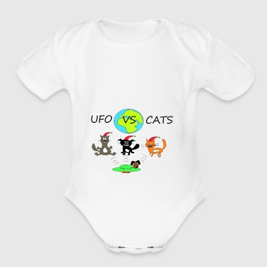 cats vs ufo - Short Sleeve Baby Bodysuit