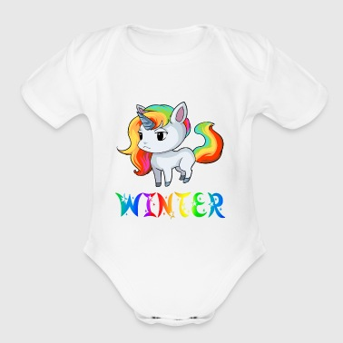 Winter Unicorn - Short Sleeve Baby Bodysuit