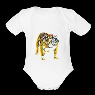 ENGLISH BULLDOG PAINTED - Short Sleeve Baby Bodysuit