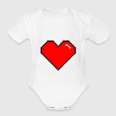 Heart - Short Sleeve Baby Bodysuit
