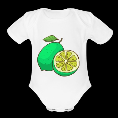 Green Lime Citrus - Short Sleeve Baby Bodysuit