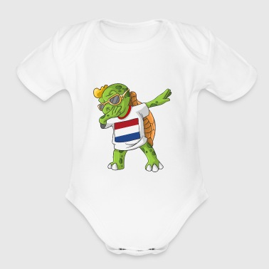 Netherlands Dabbing Turtle - Short Sleeve Baby Bodysuit
