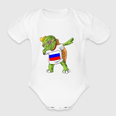 Russia Dabbing Turtle - Short Sleeve Baby Bodysuit