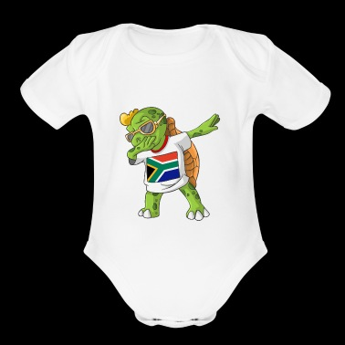 South Africa Dabbing Turtle - Short Sleeve Baby Bodysuit