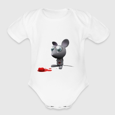mouse sad - Short Sleeve Baby Bodysuit