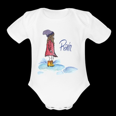 girl playing in a rain puddle - Short Sleeve Baby Bodysuit
