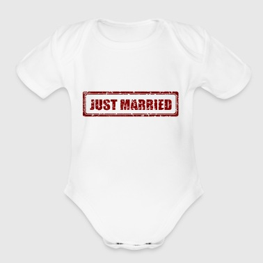 Just Married Marriage Stamp Gift Present - Short Sleeve Baby Bodysuit