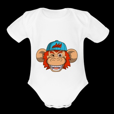 Cool Monkey Chimp With Basecap - Short Sleeve Baby Bodysuit