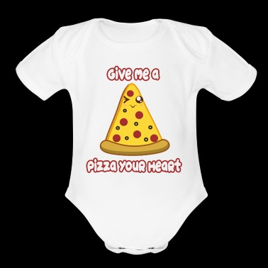 Pizza Heart - Short Sleeve Baby Bodysuit