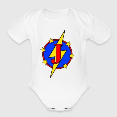 My Little Super Hero Kids & Baby Letter J - Short Sleeve Baby Bodysuit