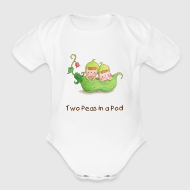 Peas in a Pod Watercolor - Organic Short Sleeve Baby Bodysuit