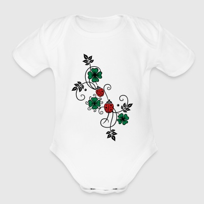 Tendril with shamrocks and ladybirds. - Short Sleeve Baby Bodysuit