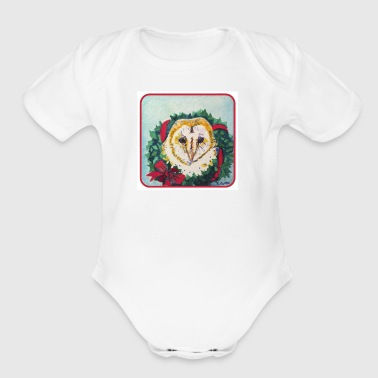 Wreath Owl - Short Sleeve Baby Bodysuit