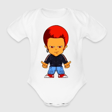 Little Gangster Comic Figure Crime - Short Sleeve Baby Bodysuit