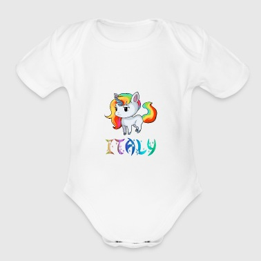 Italy Unicorn - Short Sleeve Baby Bodysuit