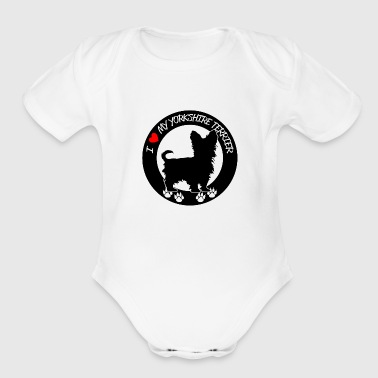 I heart my yorkshire terrier - Organic Short Sleeve Baby Bodysuit