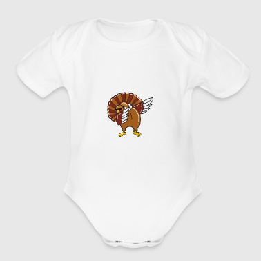 Dabbing Turkey - Thanksgiving Shirt - Short Sleeve Baby Bodysuit