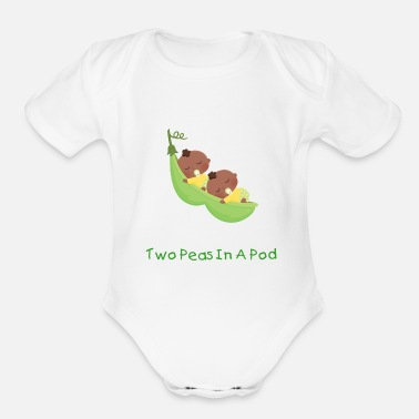 African African American Twin Pea - Organic Short-Sleeved Baby Bodysuit