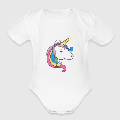 Unicorn Face - Short Sleeve Baby Bodysuit