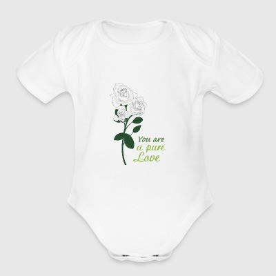 white rose - Short Sleeve Baby Bodysuit