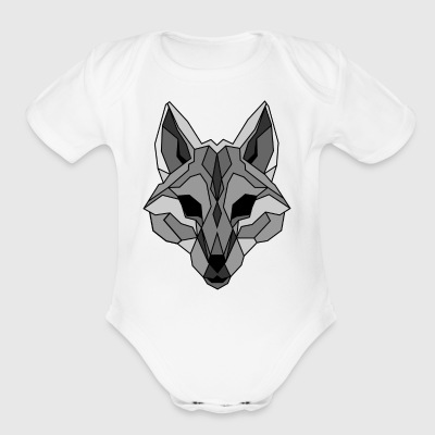 Lineart of a wolf / wolf gray - Short Sleeve Baby Bodysuit