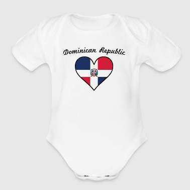 Dominican Republic Flag Heart - Short Sleeve Baby Bodysuit