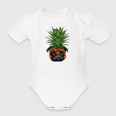 Pineapple Pug - Short Sleeve Baby Bodysuit