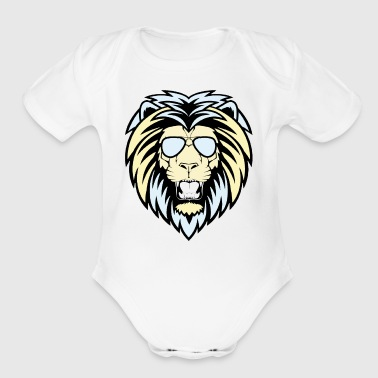 Lion with sunglasses - Short Sleeve Baby Bodysuit