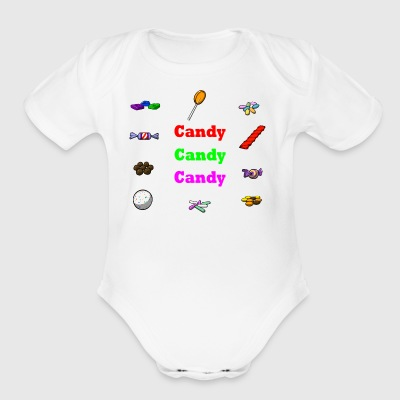 candy candy candy - Short Sleeve Baby Bodysuit