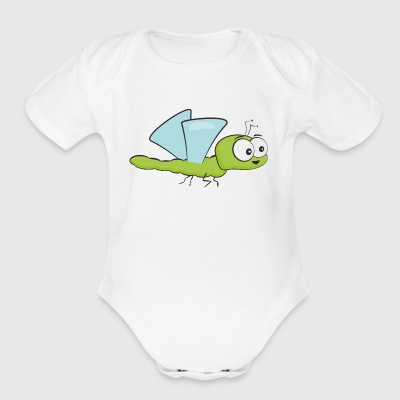 Funny Insect Bee Flying - Short Sleeve Baby Bodysuit