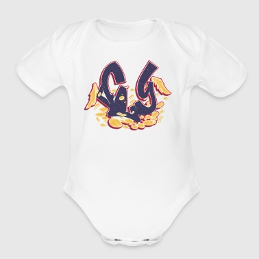 fly_graffiti_dark_blue - Short Sleeve Baby Bodysuit