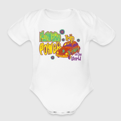 FLOWERS POWER trip - Short Sleeve Baby Bodysuit