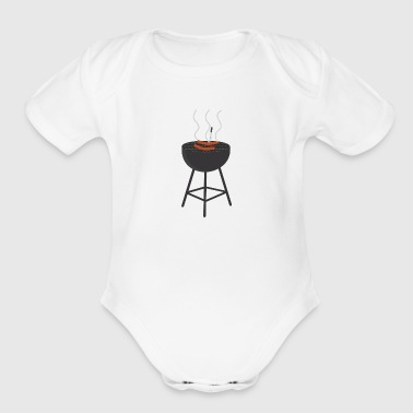 BBQ with sausages - Organic Short Sleeve Baby Bodysuit