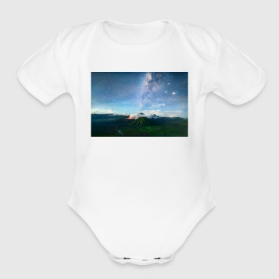 Volcano with the pretty Galaxy - Short Sleeve Baby Bodysuit