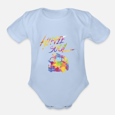 Hippie Hippie Soul Bus Colorful Cute Cool Awesome Gifts - Organic Short-Sleeved Baby Bodysuit