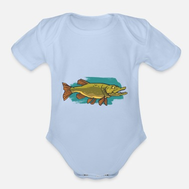 Aggressive Annoying aggressive muskie Esox lucius angler - Organic Short-Sleeved Baby Bodysuit
