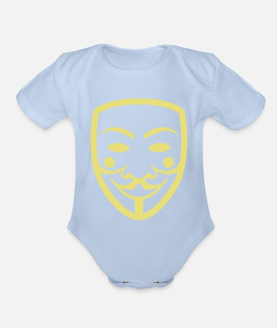 Anarchy Baby One Pieces - Anonymous Mask Illustration - Organic Short-Sleeved Baby Bodysuit sky